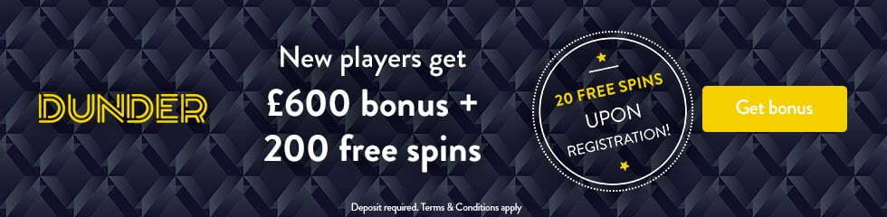 Dunder Casino 20 Free Spins No Deposit Required UK